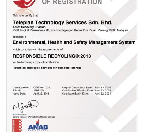 Miller Singapore is SERI R2 certified for Responsible recycling -