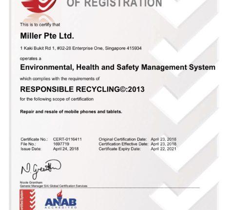 Miller Singapore R2 SERI Certificate