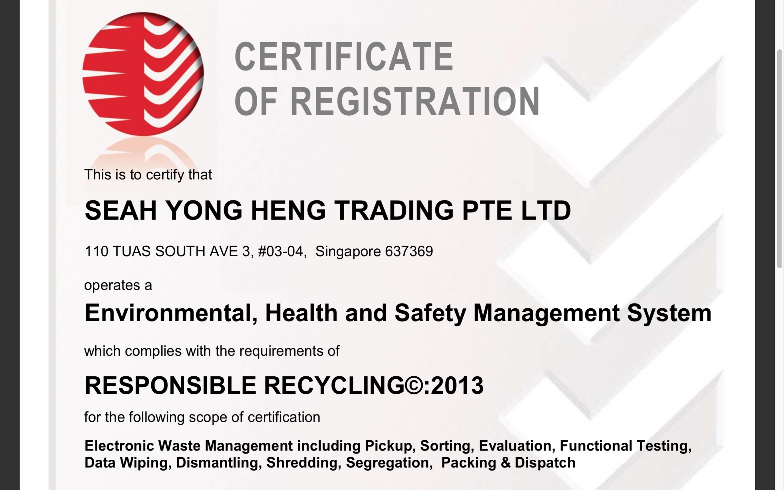 SYH Trading Singapore R2 SERI Recycler